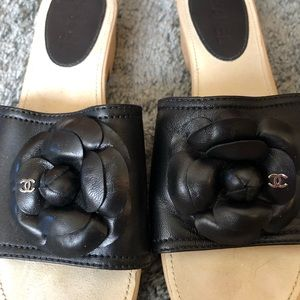 CHANEL Shoes - Chanel Leather Camellia Flower Platform Sandals